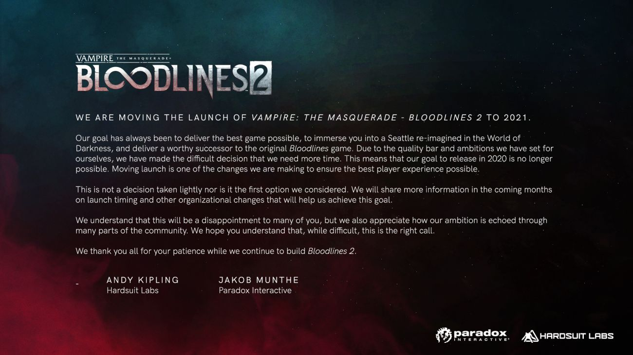 Релиз Vampire: The Masquerade  Bloodlines 2 перенесли на 2021 год